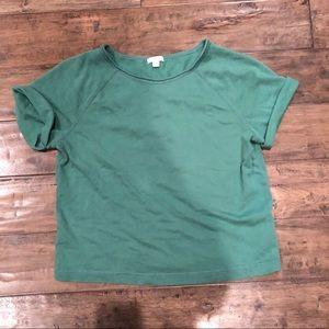 Gap hunter green sweat shirt terry crop top